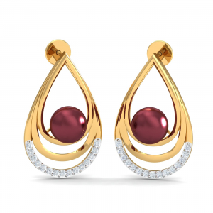 Maroon Pearl Stud Earrings