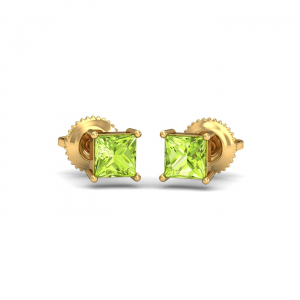 Tiny Square Peridot Earrings