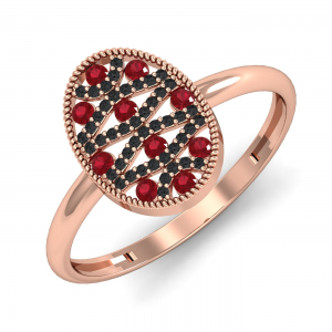 Black Diamond & Ruby Ring