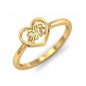 MS Initials Heart Ring